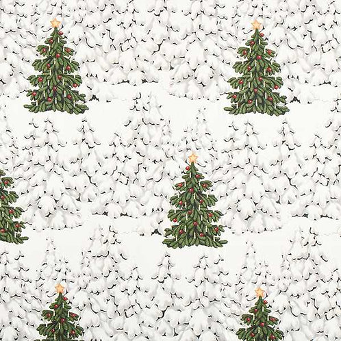 Christmas | Half Panama Decor Fabric Grön o Grann – White
