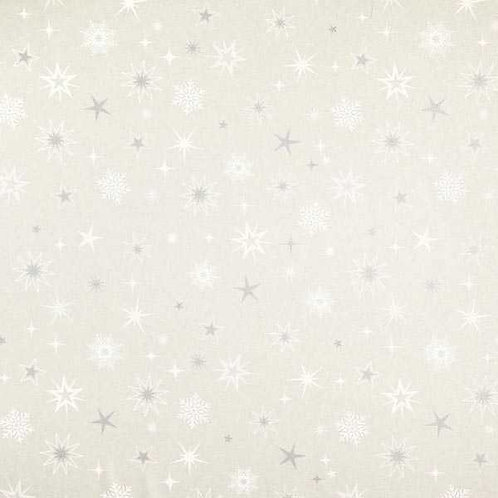 Christmas | Half Panama Decor Fabric Shimmering Stars – Silver-White