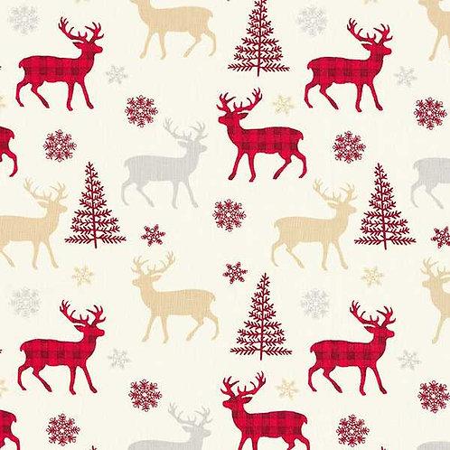Christmas | Cotton Poplin Reindeer – Beige