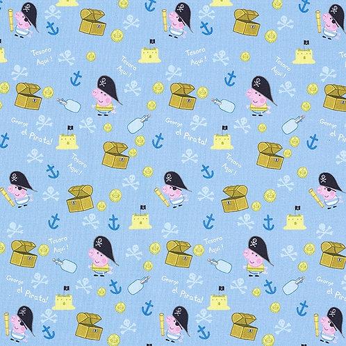 Cretonne Licensed | Peppa Pig George Pirate | Light Blue