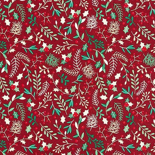 Christmas | Cotton Poplin Twigs – Burgundy