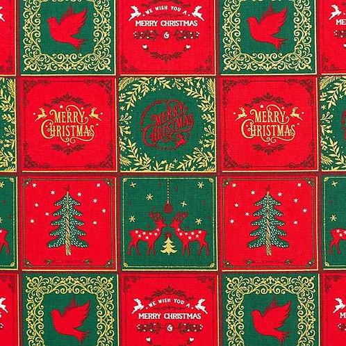 Christmas   Cotton Poplin Christmas Collage – Red-Dark Green