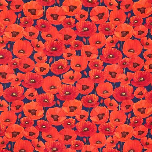 Waterproof Dralon   Poppies Outdoor Red