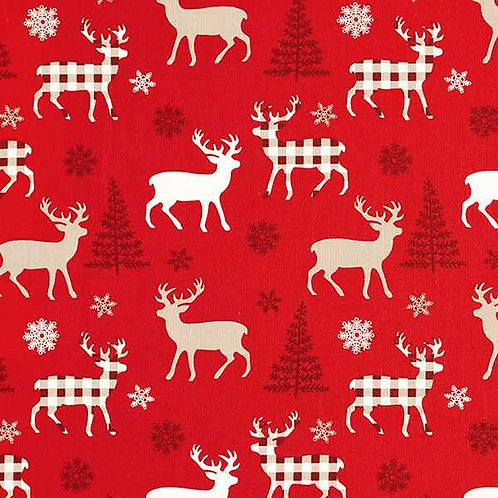 Christmas | Cotton Poplin Reindeer – Red