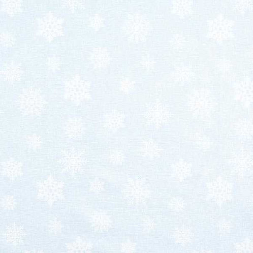 Christmas | Jacquard Decor Fabric Glitter Snowflakes – Light Blue-Silver