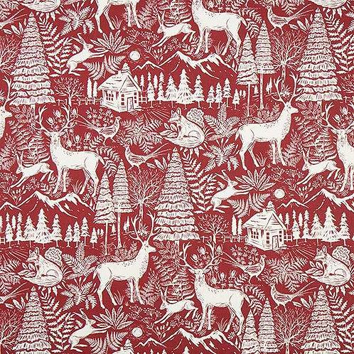 Christmas | Forest Landscape Decor Linen – Burgundy