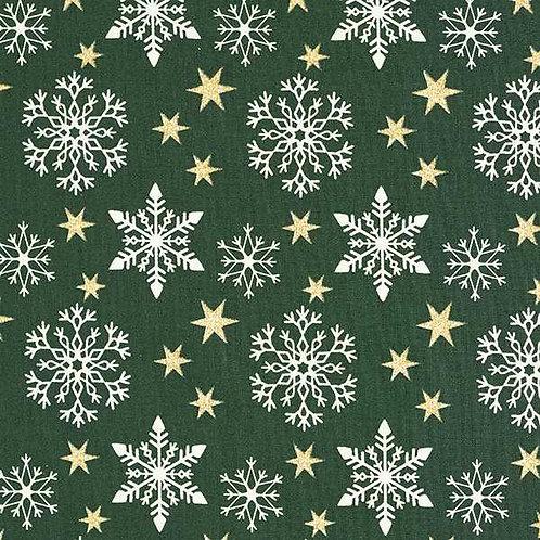 Christmas | Cotton Poplin Glittering Stars – Dark Green-White