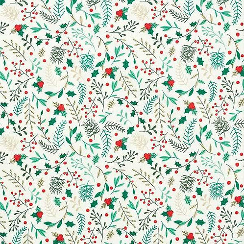 Christmas | Cotton Poplin Twigs – White