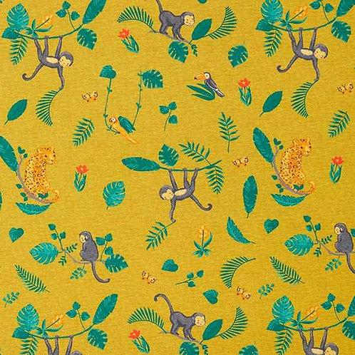 Cotton Jersey   Monkey In The Jungle   Mustard