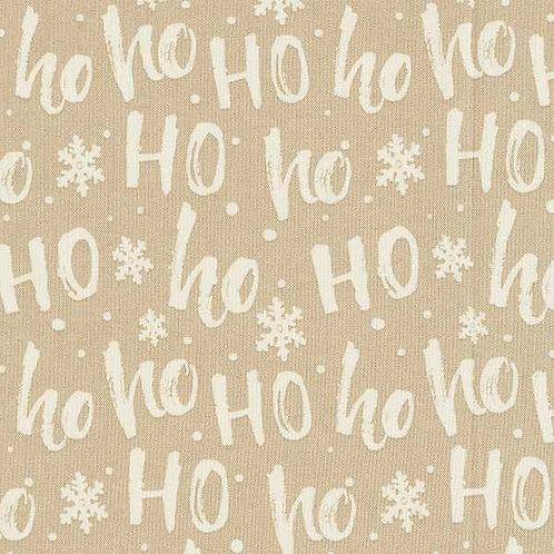 Christmas | Cotton Poplin Ho Ho Ho – Beige-White