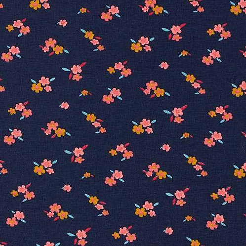 Cotton Jersey | Little Flowers | Navy Blue / Mustard