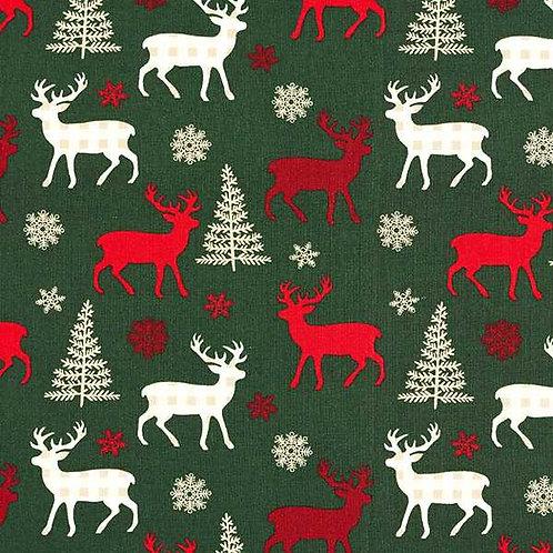 Christmas   Cotton Poplin Reindeer – Dark Green