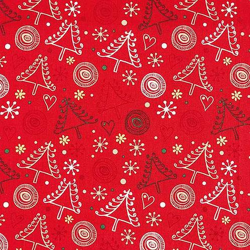 Christmas | Cotton Poplin Fir Tree – Red