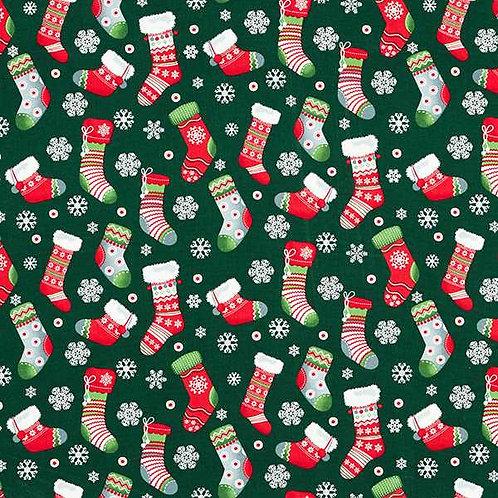 Christmas   Cotton Poplin Christmas Stocking – Navy Blue