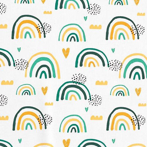 Cretonne Rainbows and Hearts | Petrol Mustard