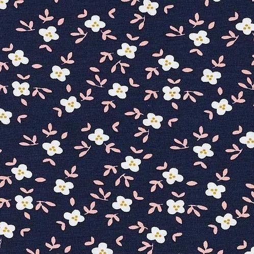 Cotton Jersey   Little Flowers   Navy Blue
