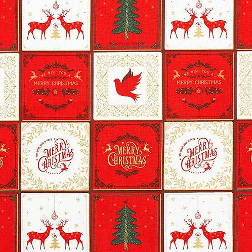 Christmas | Cotton Poplin Christmas Collage – White-Red