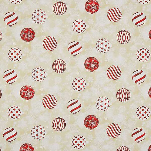 Christmas | Canvas Decor Fabric Christmas Tree Baubles – Beige