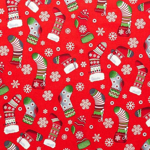 Christmas | Cotton Poplin Christmas Stocking – Red