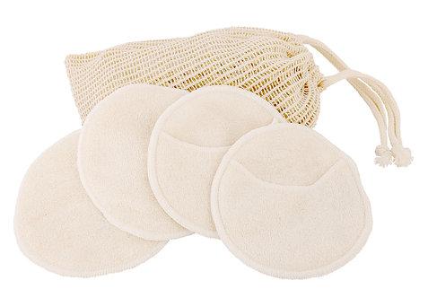 Lingettes démaquillantes lavables (4 disques) avec sac de lavage.