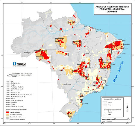 Areas of relevant interest for metallic mineral deposits in Brazil.