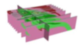 Perspectiva de seções verticais de corpo máfico-ultramáfico
