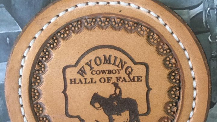 Wyoming Cowboy Hall of Fame Leather Coaster set