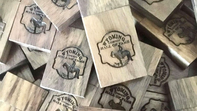 Wyoming Cowboy Hall of Fame videos on wooden flash drive