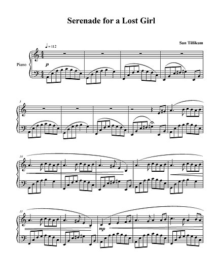Serenade For A Lost Girl - Piano Solo Sheet Music
