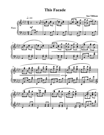 This Facade - Piano Solo Sheet Music