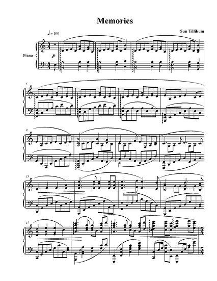 Memories - Piano Solo Sheet Music