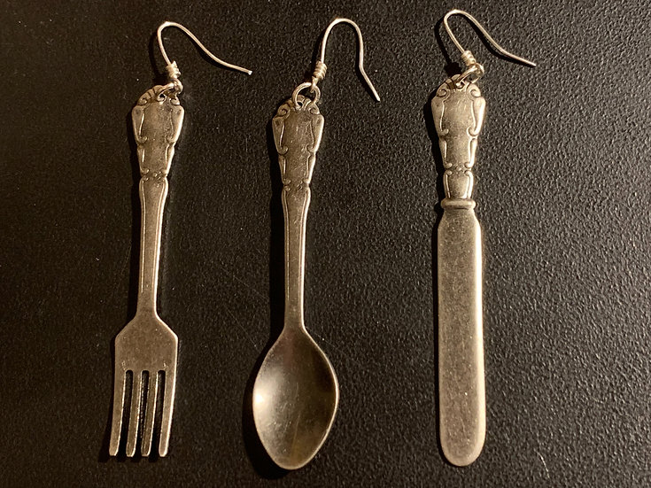 Knife, Fork, and Spoon Earrings
