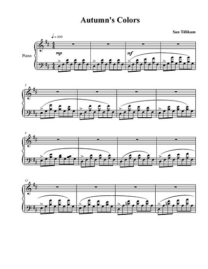 Autumn's Colors - Piano Solo Sheet Music