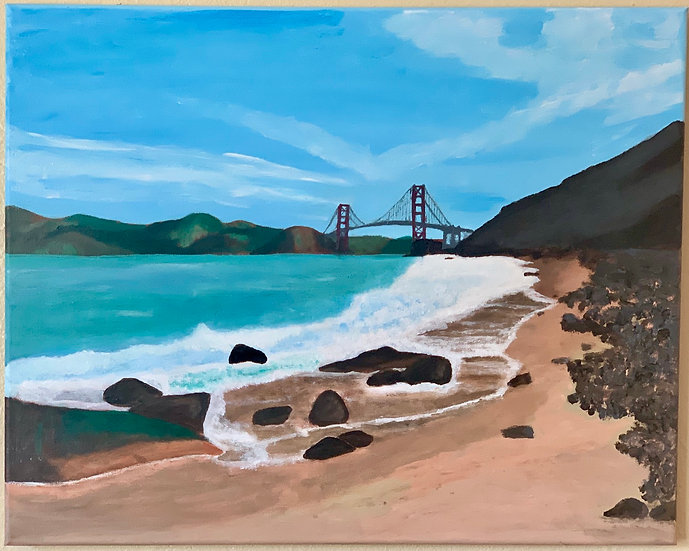 "Golden Gate, Acrylics on 16x20"" Canvas"
