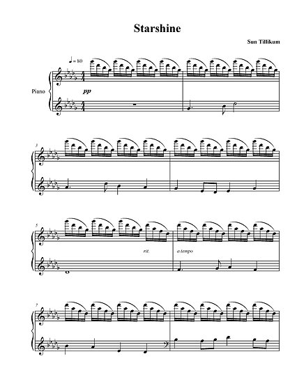 Starshine - Piano Solo Sheet Music