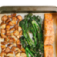 sheet pan salmon with potatoes and brocc