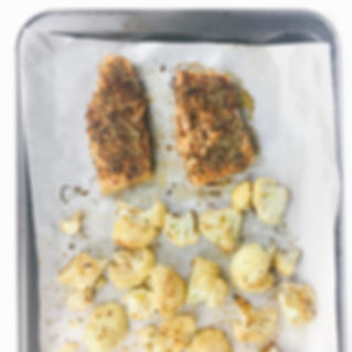 sheet pan salmon and cauliflower with sp