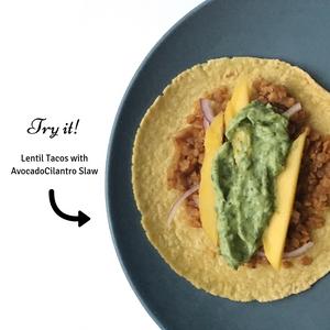 lentil tacos with avocado cilantro slaw