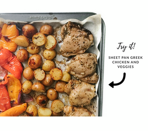 try it - sheet pan greek chicken and veggies recipe