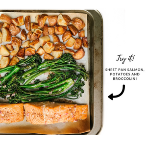 sheet pan salmon, potatoes and broccolini recipe