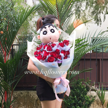 Red Roses with X-L Plushie
