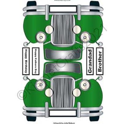 Classic Car Shaped Card - Green