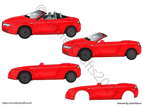 Sports Car Decoupage - Red