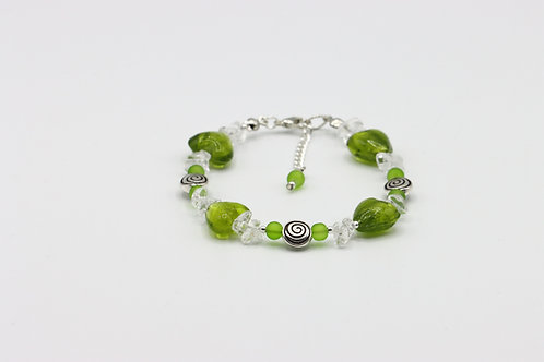 Green Heart Quartz Bracelet
