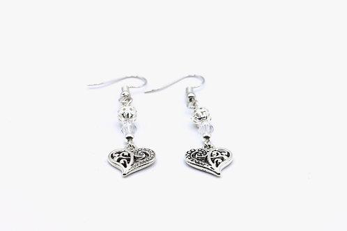 Filigree Heart Drop Earrings - Customised