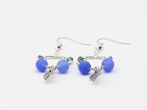 Hooped Star Earrings - Blue Agate