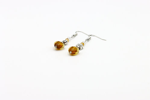 Glass Heart Earrings - Yellow