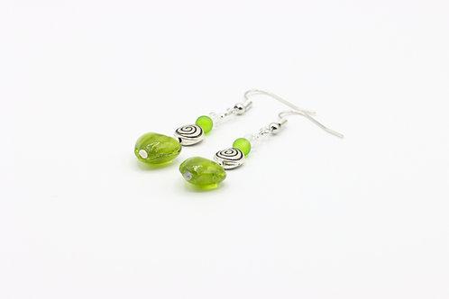 Glass Heart Earrings - Green