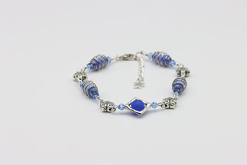 Caged Agate Bracelet - Blue