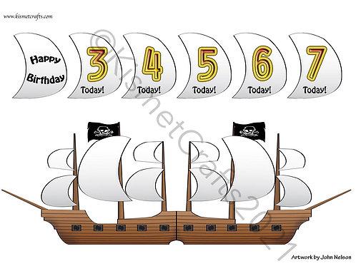 Pirate Ship Shaped Card